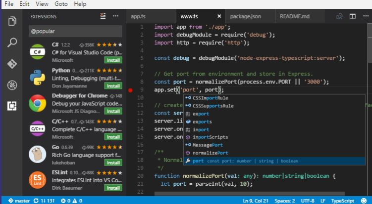 Visual Studio Code Code Editor